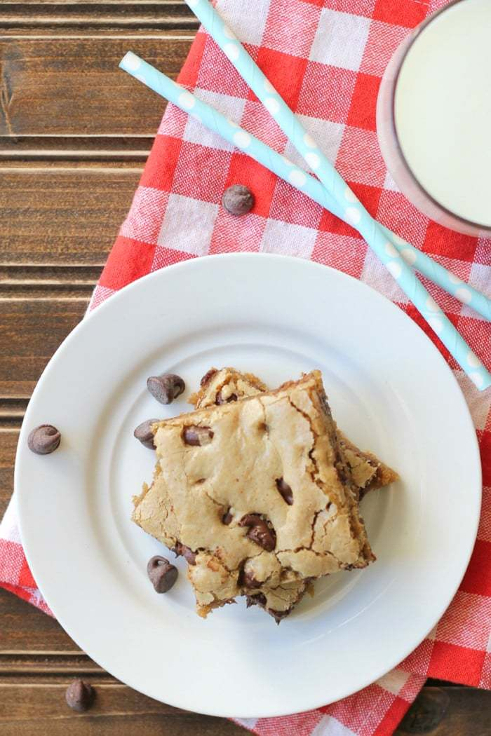 One-pan easy chocolate chip cookie bars! No time for cookies, make these instead! Same delicious flavor.