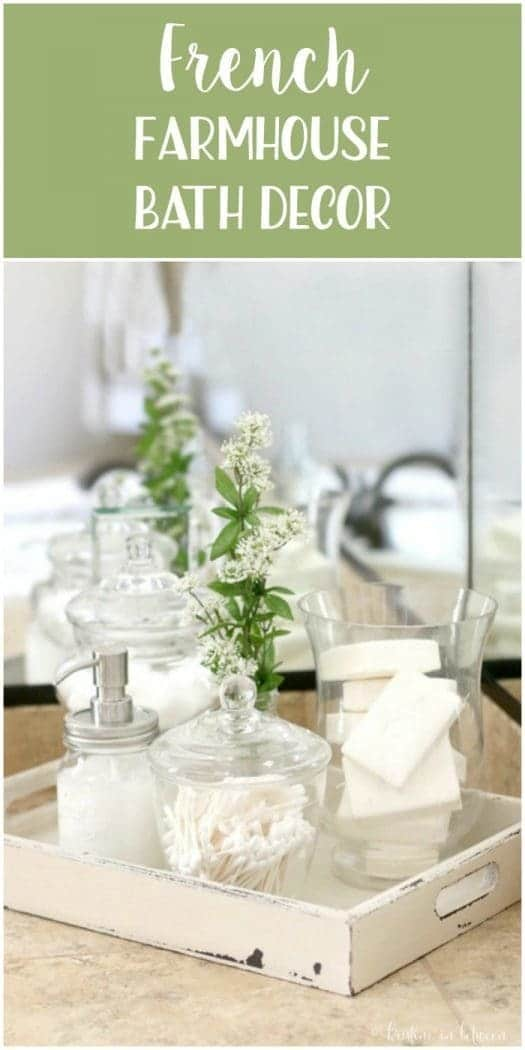 Easily add French farmhouse charm to your bathroom with this tray of essentials!