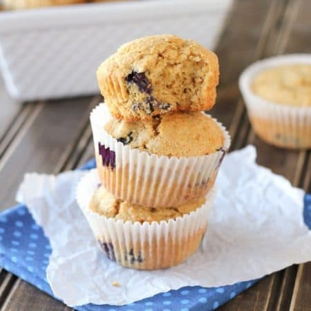 Whole food, whole wheat, blueberry muffins! I healthier way to make a delicious classic!