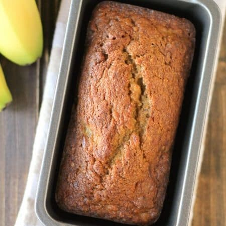Delicious homemade banana pecan bread made with whole wheat flour and maple sugar. A healthier choice next time you make banana bread!