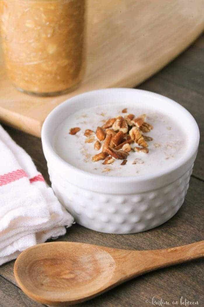 Delicious whole food pumpkin pie oatmeal that you can make overnight or on the stovetop! Perfect for fall!