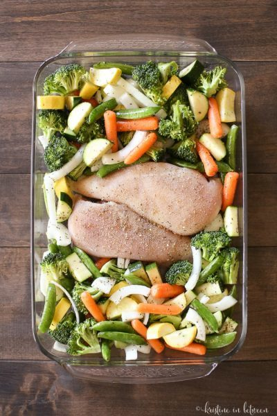 Healthy, quick and easy one-pan chicken & roasted veggies. It's what's for dinner!