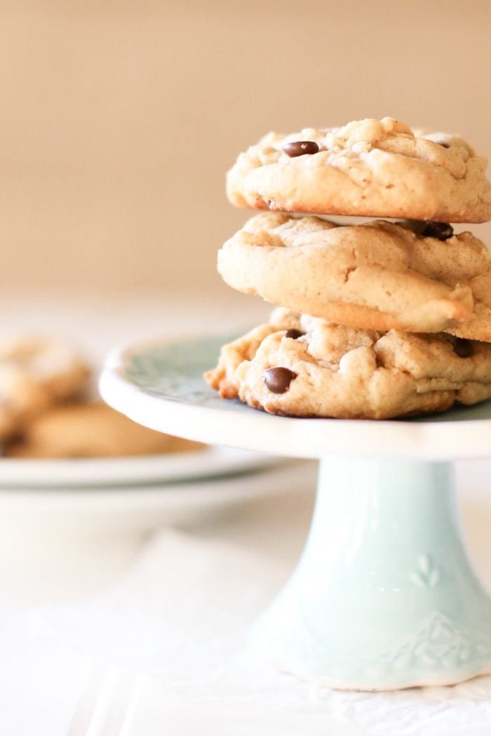These peanut butter chocolate chip cookies are quick and easy, making them perfect for any day!