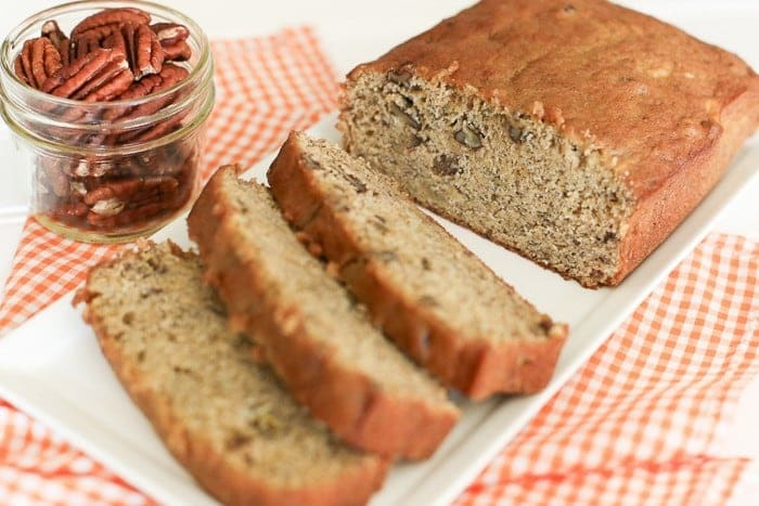 Add a taste of fall to your traditional banana bread with pumpkin, pecans, and spices. Find this recipe and more at www.kristineinbetween.com