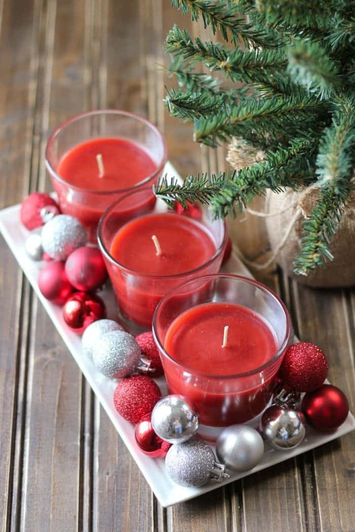 Quick and easy holiday candle centerpiece. So easy even the kids can help!