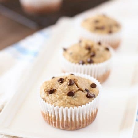 Whole food peanut butter chocolate chip blender muffins! They're perfect for breakfast or snack time and have no refined sugar! The cleanup is a snap!