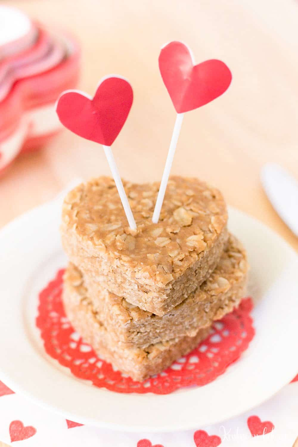 Four ingredient peanut butter oat bars made with real food ingredients and no refined sugar! They are a perfect snack!