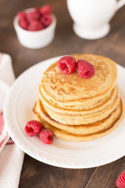 Delicious and easy recipe for whole what pancakes made with no refined sugar. Perfect for everyday pancakes!