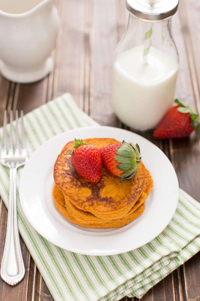 Deliciously simple, whole food sweet potato pancakes made with no added sugar! Whole30 compliant and gluten-free.