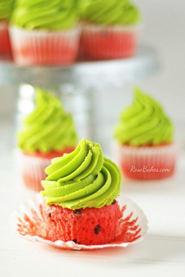 """Chocolate Chip Cupcakes with Brown Sugar Buttercream and with a little food coloring, transformed them into """"Watermelon Cupcakes"""" perfect for summer and picnics!"""