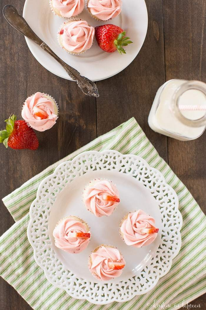 The best homemade strawberry cupcakes with strawberry buttercream frosting made from fresh strawberry puree!