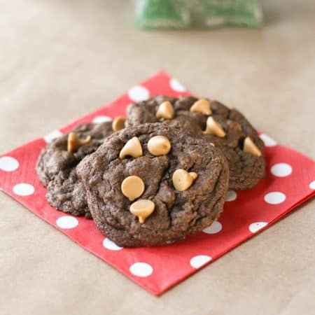 A Christmas favorite at our house, chocolate peanut butter chip cookies!