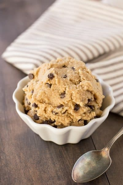 Simple ingredient edible cookie dough {eggless}. When you want a treat or add some to your favorite ice-cream to take it to the next level!
