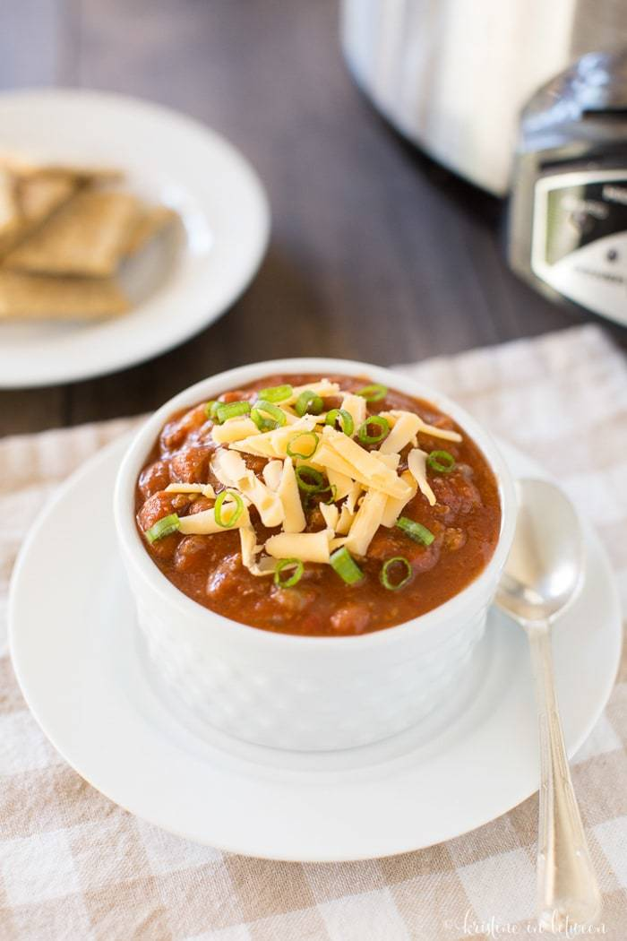 Classic chili made from scratch in the Crock-Pot! It's the perfect cold weather meal!