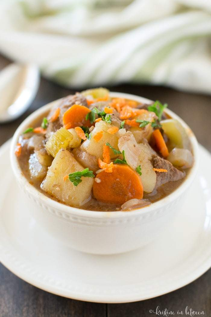 This healthy beef stew is a perfect way to kick-off fall! It's made in the Crock-Pot, so it's quick and easy!
