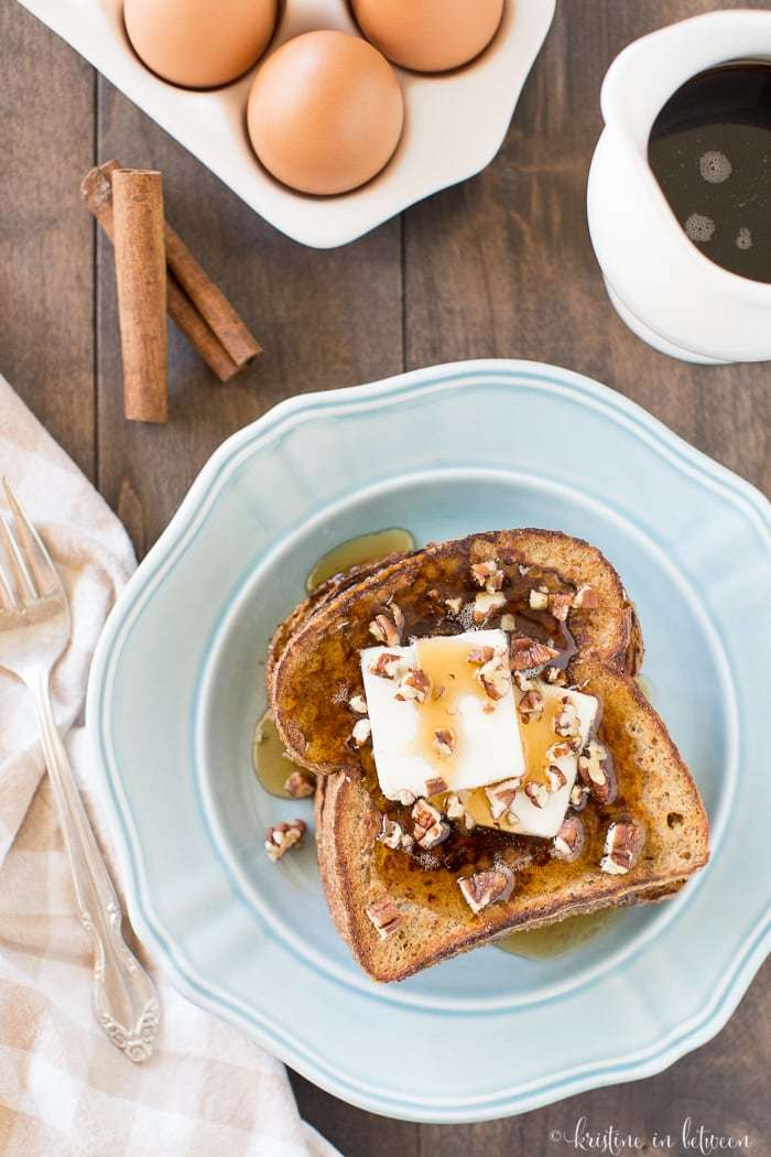 Delicious, pumpkin french toast is the perfect fall breakfast! A spicy seasonal twist on a traditional favorite!