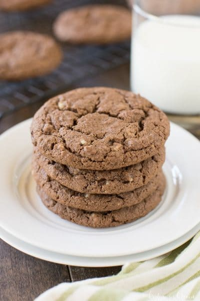 Soft and chewy mint chocolate cookies made with Andes mint chips! These cookies are perfect for the holidays or any day!