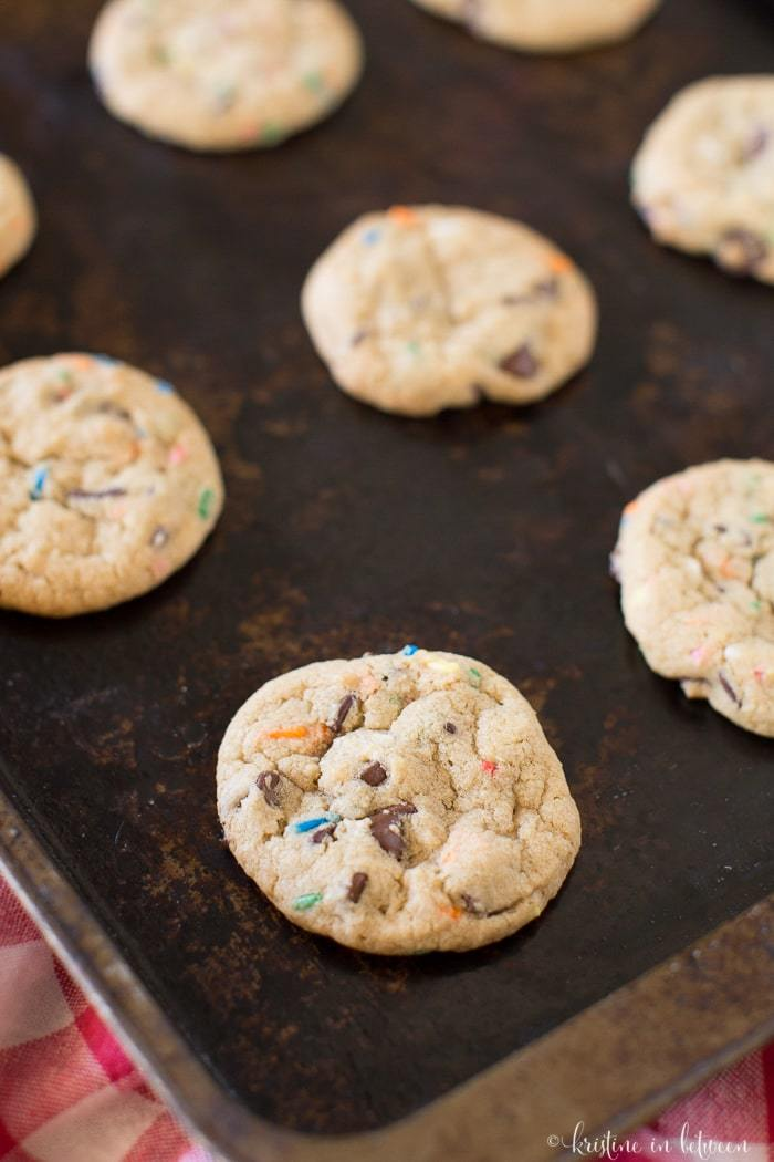 Quick and easy small-batch chocolate chip sprinkle cookies