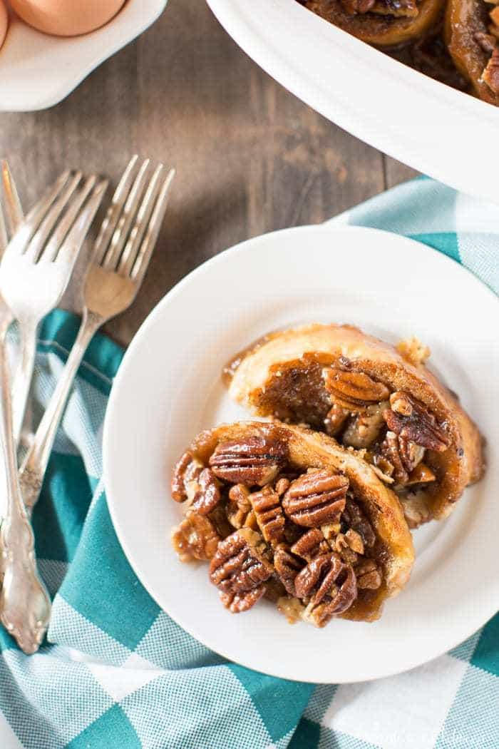 Say goodbye to boring French toast and serve this easy pecan caramel French toast bake instead!