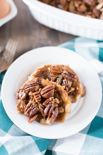 This pecan caramel French toast is my favorite weekend breakfast!