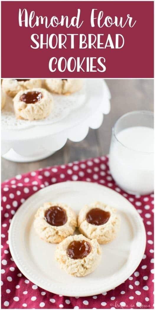 Gluten-free, grain-free almond flour shortbread cookies with raspberry jam!