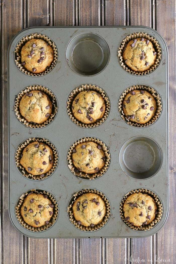 You'll love these delicious whole food whole what banana muffins with chocolate chips!