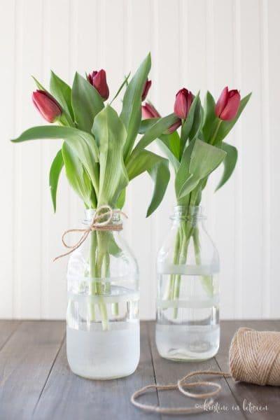 DIY Etched Flower Vases