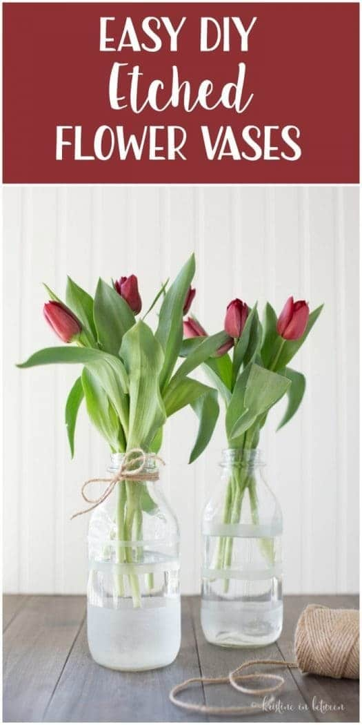 Super simple DIY etched flower vases that you can make in under 30 minutes!