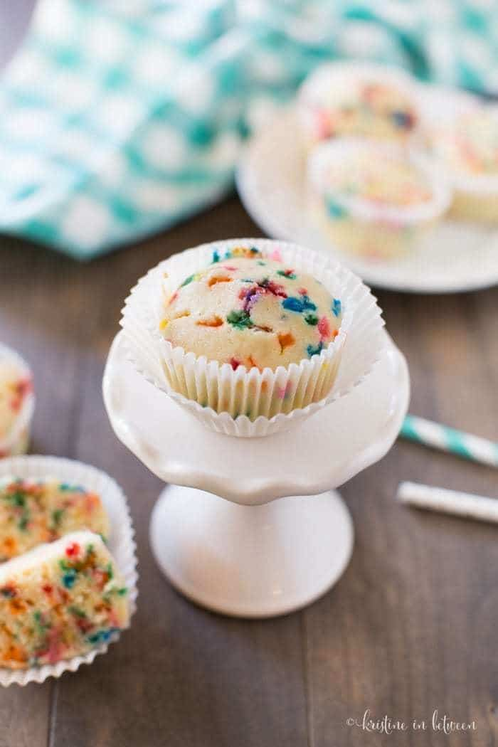 Small-batch birthday cake muffins that taste just like cake without all the sugar!
