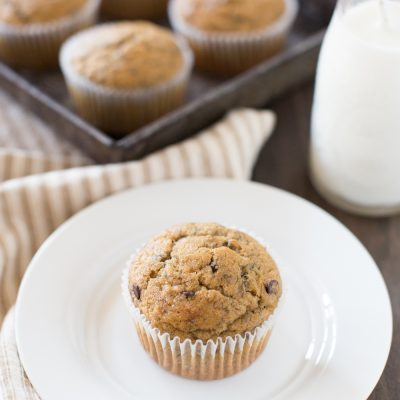 This is the best recipe for whole wheat peanut butter banana muffins. They're soft and crumbly, and loaded with peanut butter!