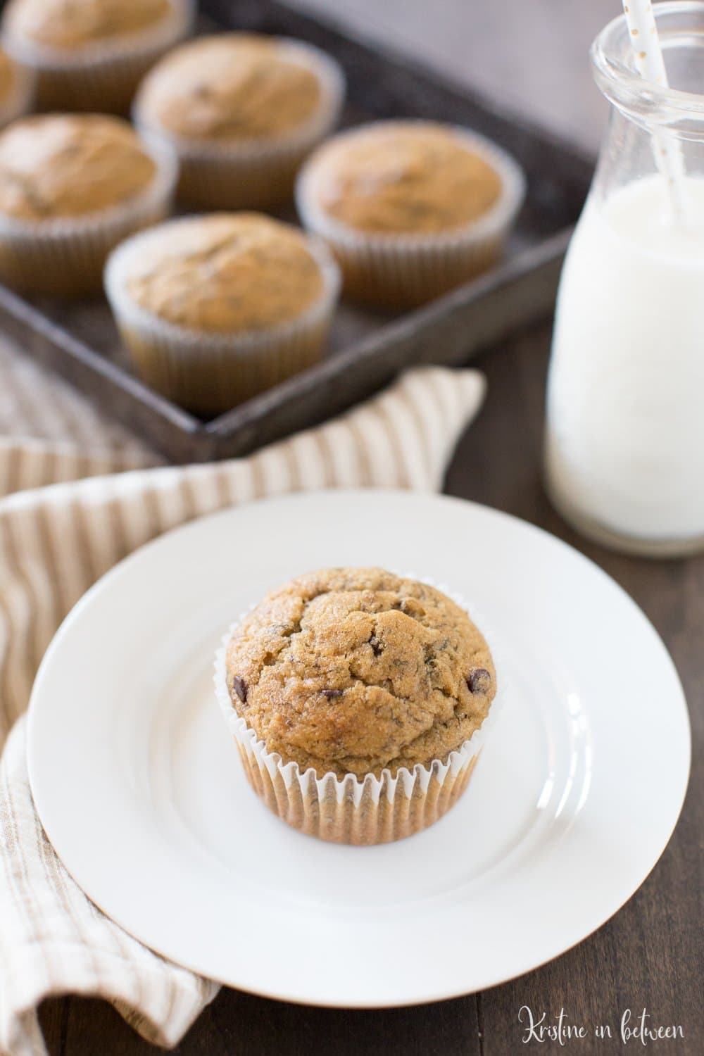 These are the best whole wheat peanut butter banana muffins with chocolate chips!