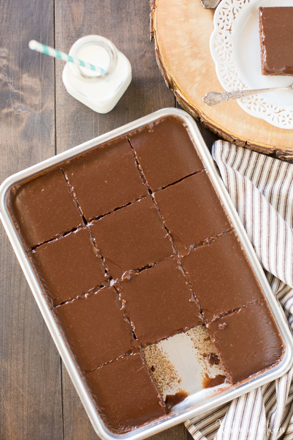 Is there anything more delightful than a soft, warm, chocolatey Texas sheet cake? No, I don't think so either! And even better, this small-batch recipe makes only a quarter of a sheet cake!