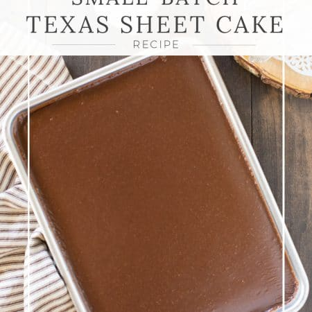 Small-batch Texas sheet cake in a pan with a brown and white striped napkin