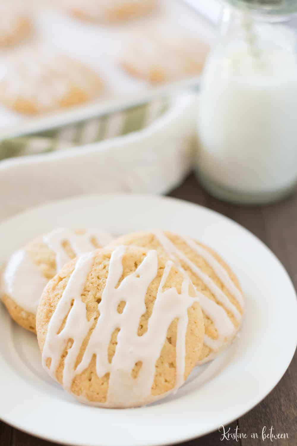 You'll love these thin and chewy maple sugar cookies! They're soft, yet have crispy edges and are covered with a light maple glaze.
