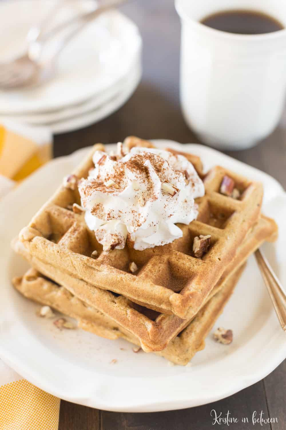 These small-batch whole wheat pumpkin waffles are a healthy, yet indulgent breakfast!