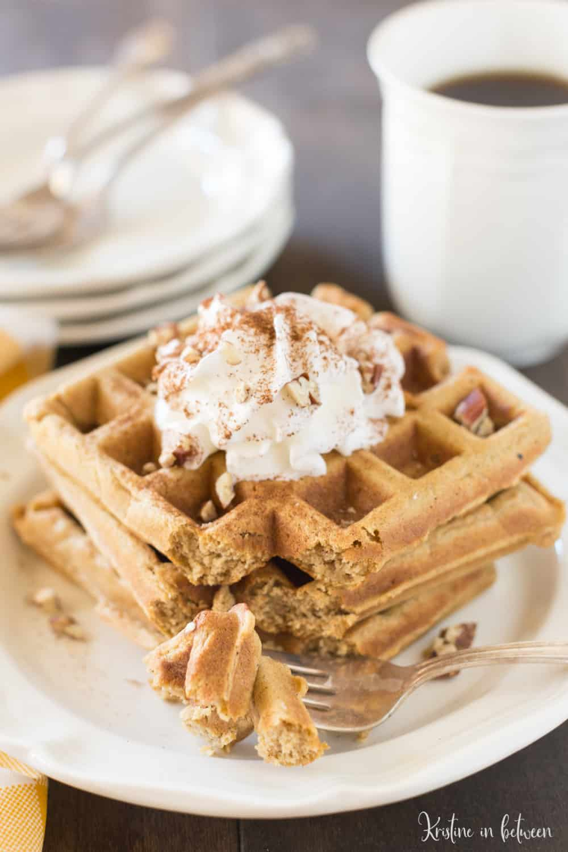 These small-batch whole wheat pumpkin waffles make the perfect fall breakfast!