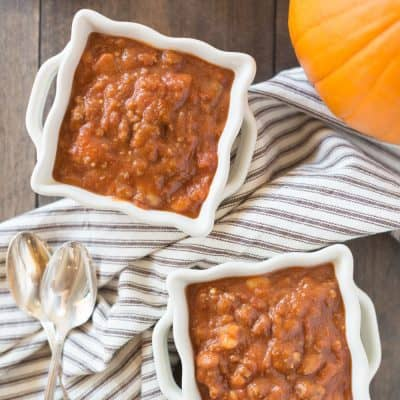 Delicious Crock-Pot pumpkin chili, perfect for fall!