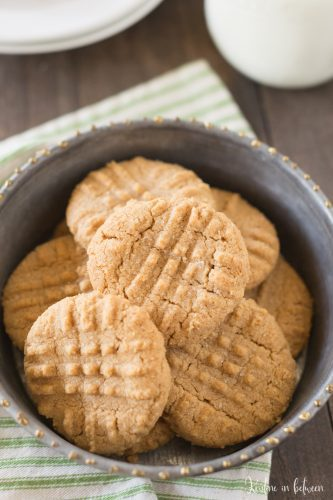 Try these super simple 3 ingredient peanut butter cookies next time you have a peanut butter cookie craving! They're perfect every time!