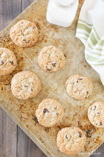 Thick and chewy chocolate chip coconut cookies!