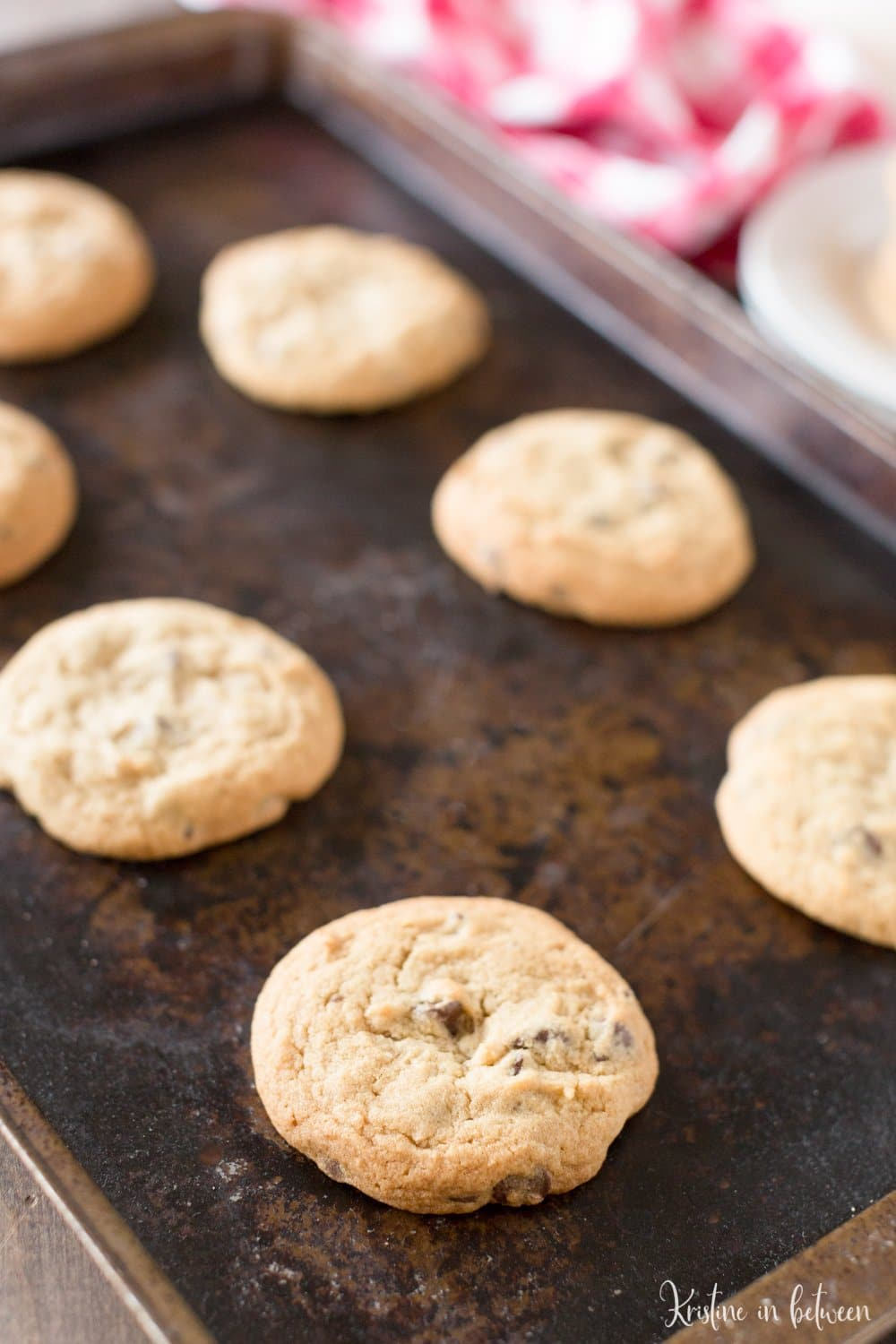 Giant chocolate chip cookies that are soft and chewy and loaded with chocolate chips!