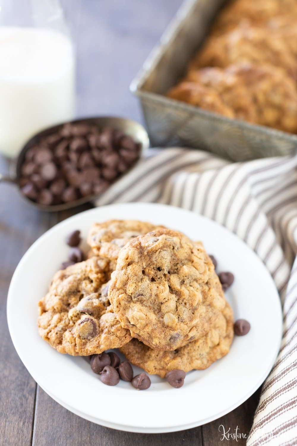 These are the perfect chewy oatmeal chocolate chip cookies!
