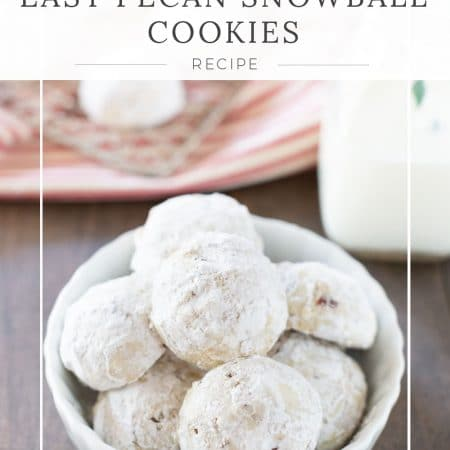 Pecan snowball cookies sitting in a dish with a red and white striped napkin in the background