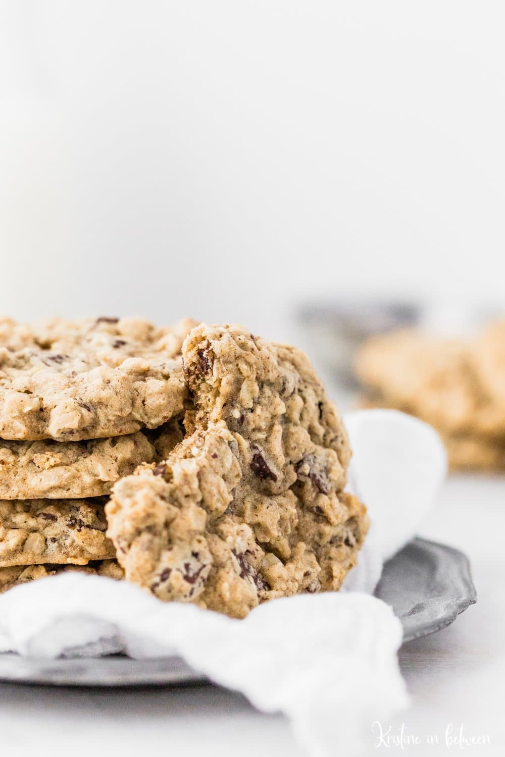 The very best traditional thick and chewy oatmeal dark chocolate chunk cookies!