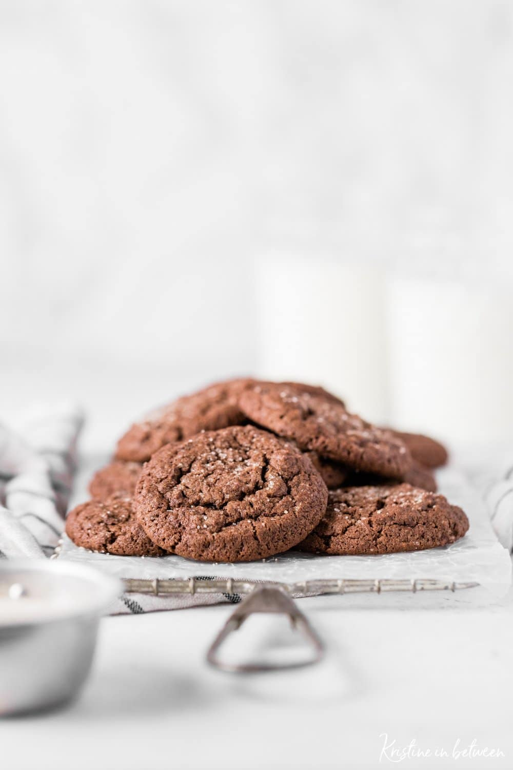 These are the best thick and chewy chocolate sugar cookies! They're so easy, you can make them in one bowl!