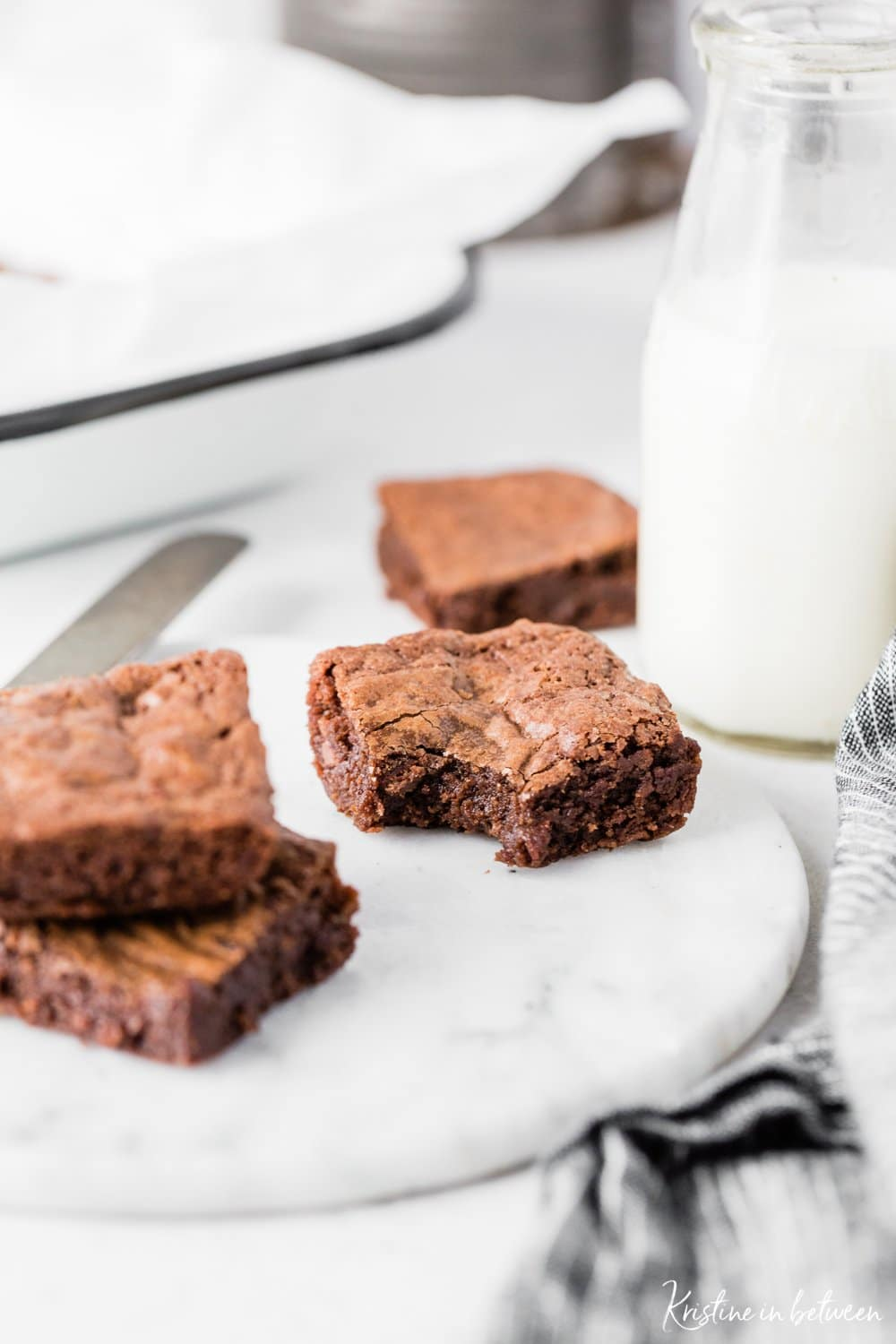 Super easy, thick and fudgy small-batch brownies for two!