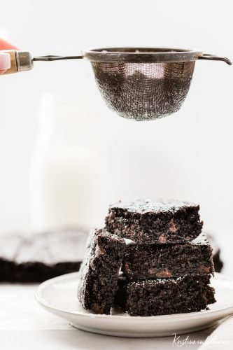 Super rich dark chocolate fudge brownies that are thick and chewy.